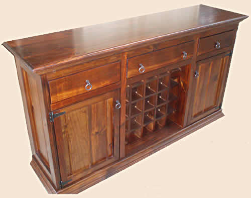 Hunter Solid Hardwood or Pine Timber Buffet with Wine Rack.