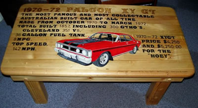 Ford Falcon GT Collectible Lounge Table in solid pine timber.
