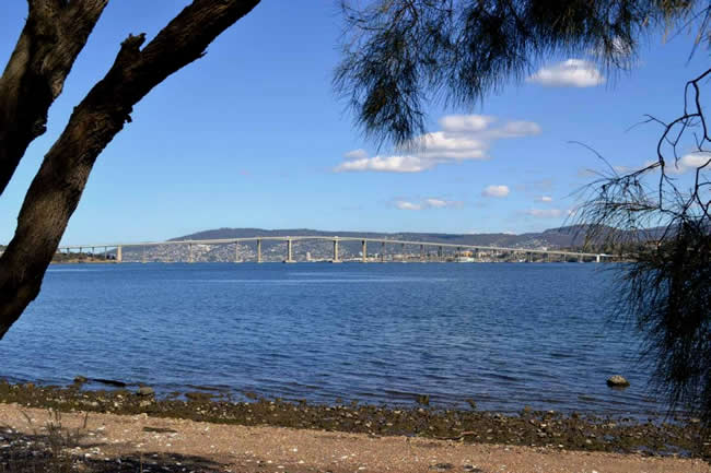 The iconic Tasman Bridge over the Derwent River, Hobart, Tasmania, Australia