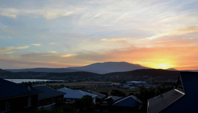 Sunset view to Mount Wellington, Hobart, Tasmania, Australia
