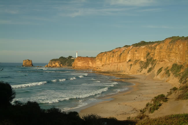 The cliff face and Split Point Lighthouse at Aireys Inlet, Great Ocean Road, Victoria, Australia