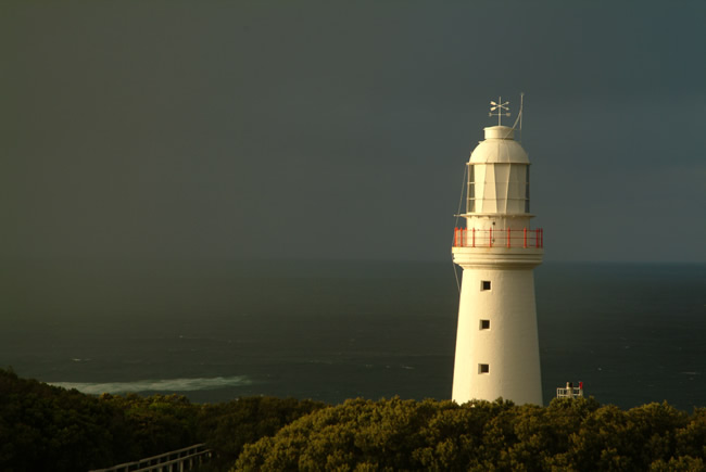 Sunrise rain, Cape Otway Light, Great Ocean Road, Victoria, Australia