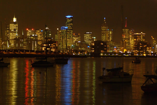 Melbourne's skyline at night, viewed from Williamstown, Victoria, Australia