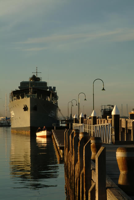 In my shadow, HMAS Castlemaine, at Gem Pier, Williamstown, Victoria, Australia