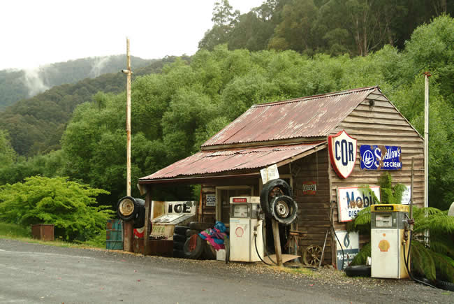 Woods Point service station, alpine Victoria, Australia