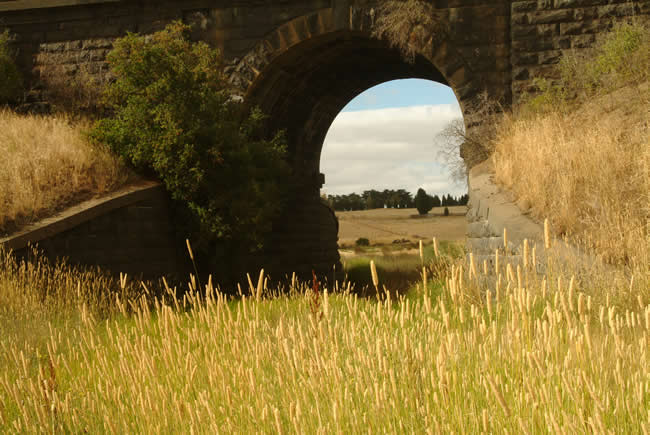 Old stone railway bridge at Gheringhap, near Geelong, Victoria, Australia