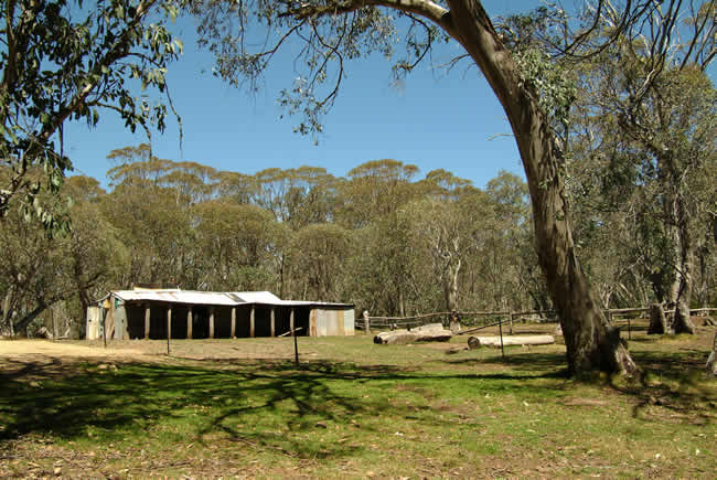 Lovick's Hut, on Barclay's Flat near Mt Lovick, alpine Victoria, Australia