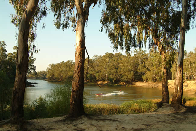 Enjoying the Murray River, near Echuca, Victoria, Australia
