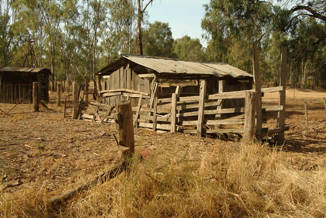 Old cattle yard, Echuca, Murray River, Victoria, Australia