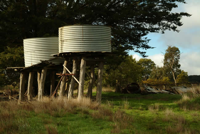 Tanks, Morris Lane, at Pipers Creek, near Kyneton, Macedon Ranges, central Victoria, Australia