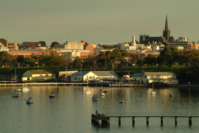 View of Geelong across Corio Bay, Victoria, Australia