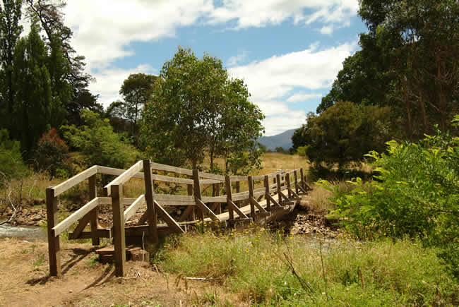 Footbridge, Wonnangatta Station, alpine Victoria, Australia