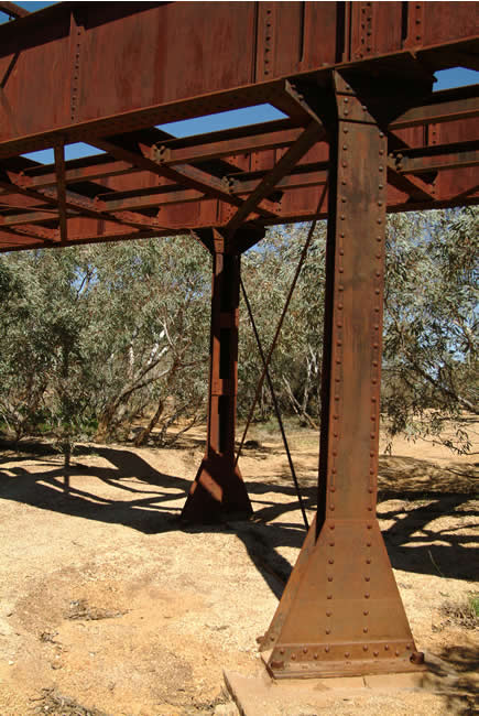 Ruins of a railway bridge, Old Ghan Railway, North Creek, South Australia
