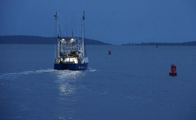 A fishing boat heading out at dawn, Gladstone Harbour, Queensland, Australia