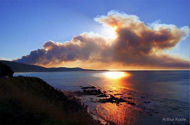 Sun Filter. Smoke from control burn, Aireys Inlet, Great Ocean Road, Victoria, Australia