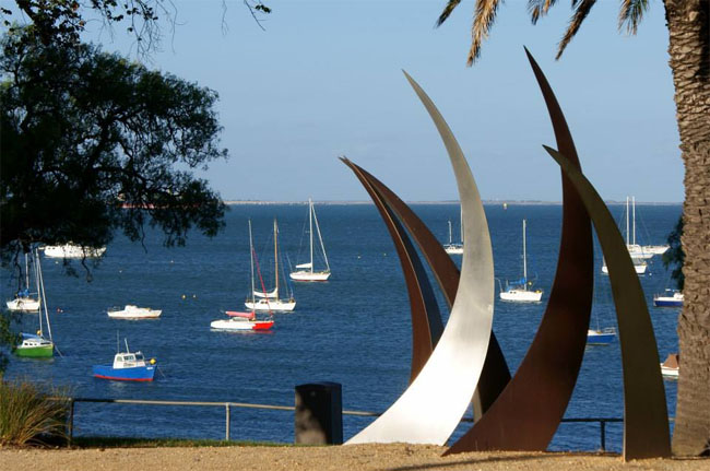 Corio Bay, seen through a beachfront sculpture, Geelong, Victoria, Australia