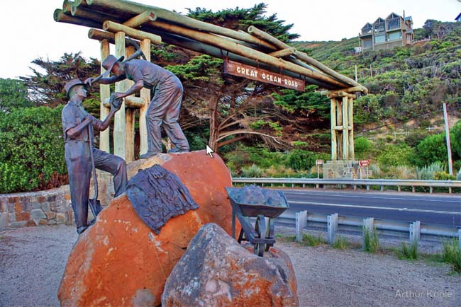 Great Ocean Road memorial, at Eastern View, Victoria, Australia