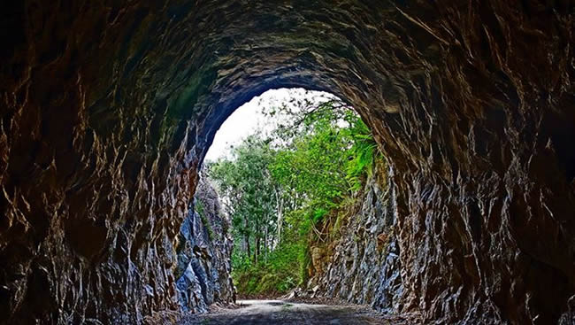 From the inside looking out of the Boolboonda Tunnel, near Mt Perry, Queensland, Australia