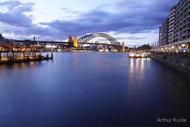 The Sydney Harbour Bridge from Circular Quay, Sydney, New South Wales, Australia