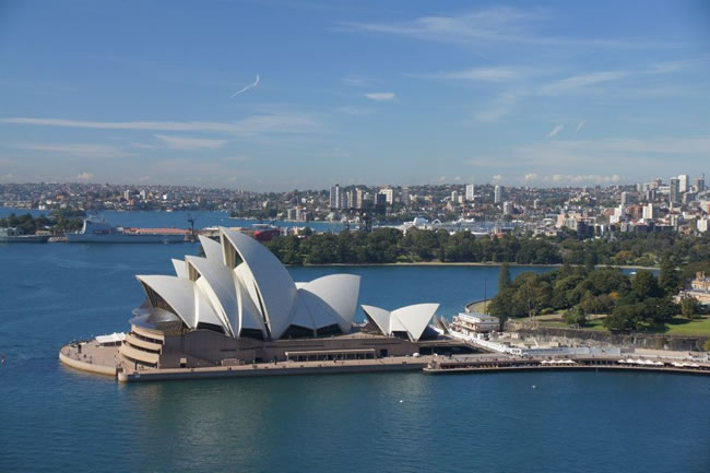Sydney Opera House from the Harbour Bridge tower, New South Wales, Australia.
