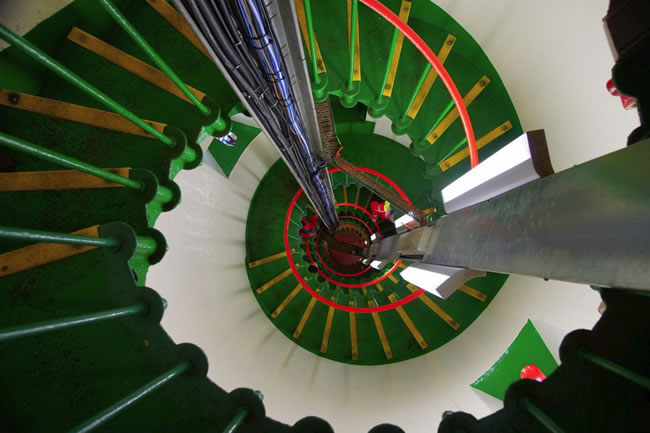 A great shot of the spiral staircase going up to the light platform at Point Lonsdale Lighthouse, Victoria, Australia