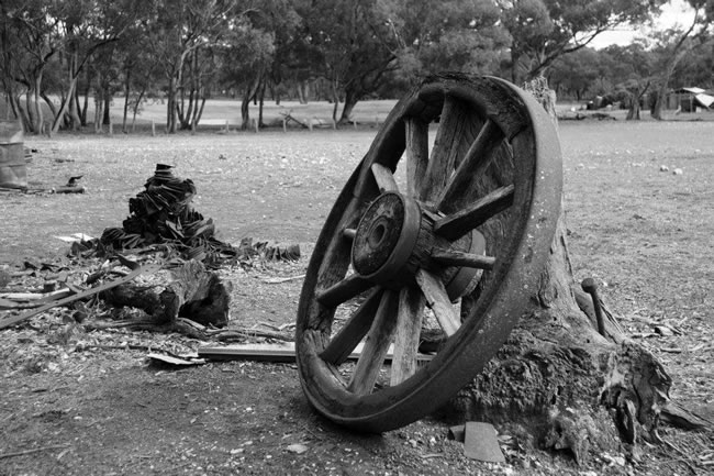 A monochrome of a wagon wheel near Maldon, Victoria, Australia
