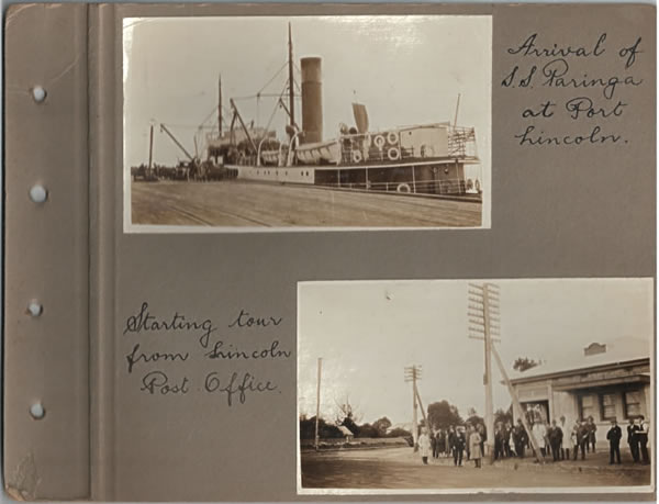 Arrival of the SS Paringa at Port Lincoln; Starting the tour from Lincoln Post Office. Parliamentary tour of the Eyre Peninsula, October 9-18, 1926