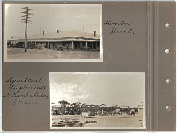 Kimba Hotel.; Agricultural Implements at Kimba Railway Station. Parliamentary tour of the Eyre Peninsula, October 9-18, 1926