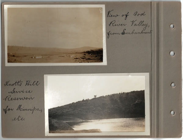 View Tod River Valley from Embankment; Knott's Hill Service Reservoir for Minnipa, etc. Parliamentary tour of the Eyre Peninsula, October 9-18, 1926