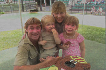Steve and Terri Irwin, with son Robert and daughter Bindi