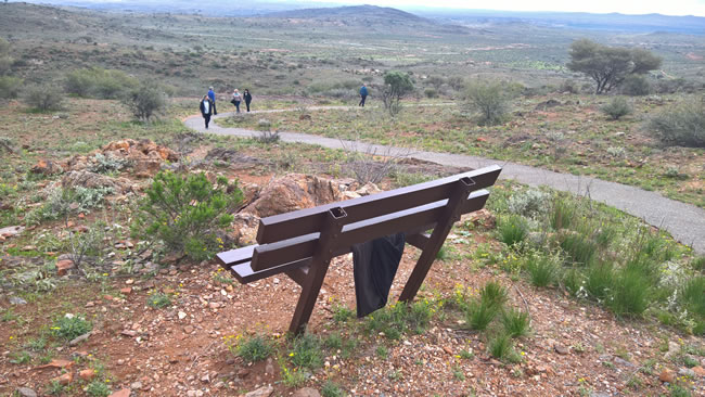 Pew with a view, Living Desert, Broken Hill, New South Wales, Australia