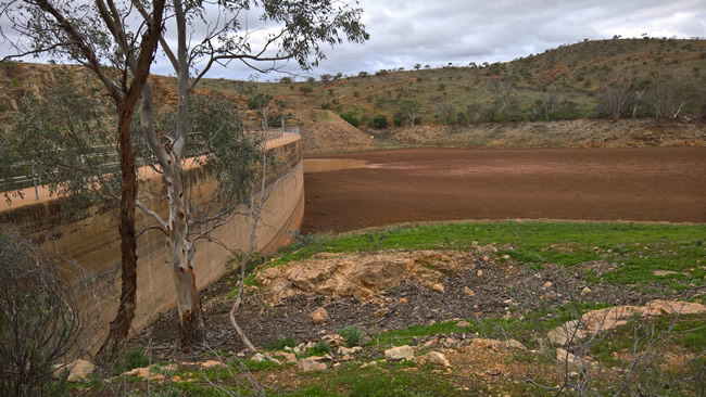 Umberumberka Reservoir is almost dry, Silverton, New South Wales Australia