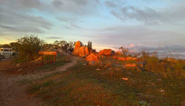 The white rocks at the White Rocks Reserve, where the men who attacked the train hid, Broken Hill, New South Wales Australia