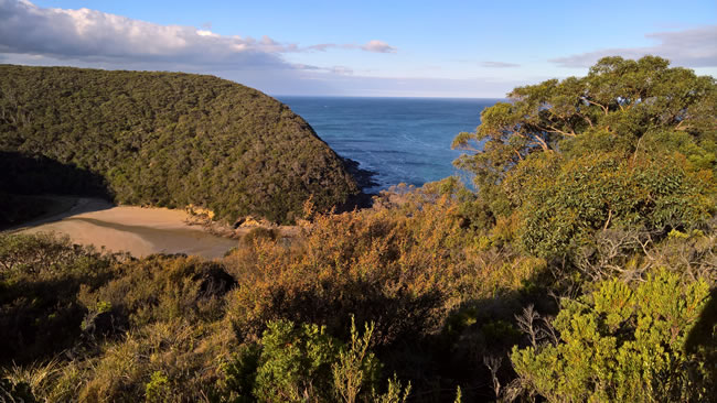 Parker River mouth and beach, Cape Otway, Victoria, Australia