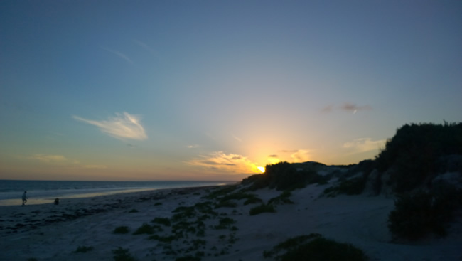 Eyre Bird Observatory. Sunset on a lonely beach, Eyre, Western Australia
