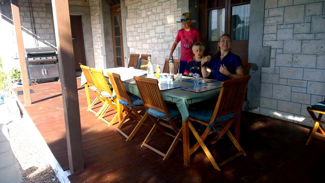 Eyre Bird Observatory - lunch, on the verandah, Western Australia