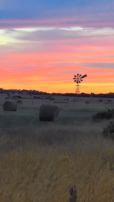 Windmill silhouetted against the sunrise, Freshwater Creek, near Geelong, Victoria, Australia