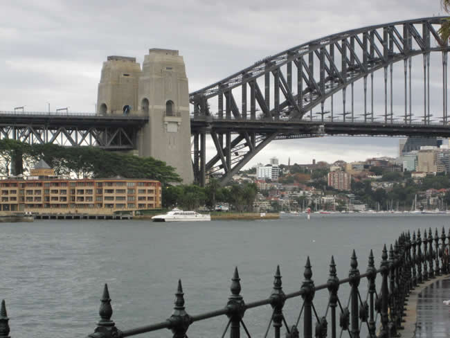 The bridge as seen from the Opera House. Sydney Harbour Bridge, New South Wales, Australia.