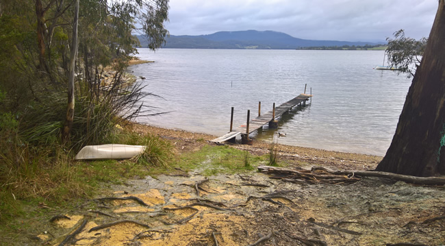 Looking over the Huon river towards the mountains, Abels Bay, southern Tasmania, Australia