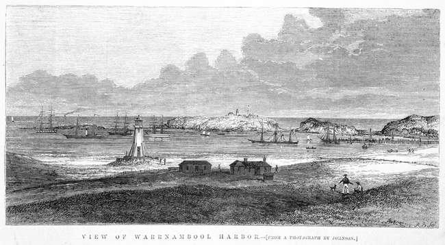 Photograph of Warrnambool harbour in 1870. Victoria, Australia