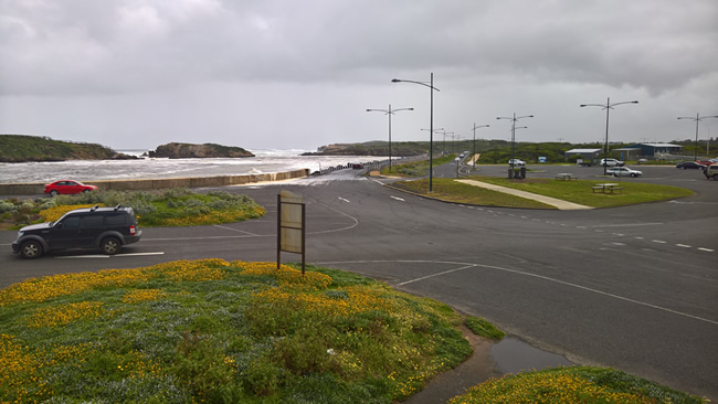Warrnambool harbour on a stormy day. Victoria, Australia