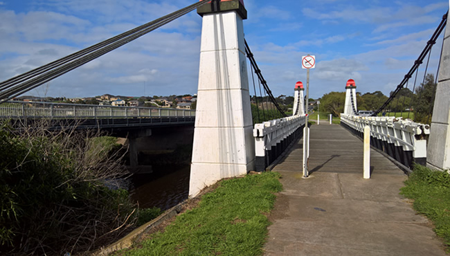 The Wollaston suspension bridge over the Merri River, Warrnambool, Victoria, Australia
