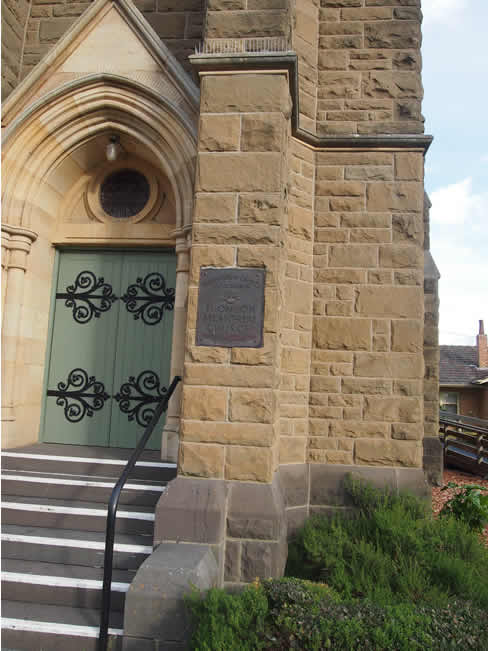 Entrance to the Thomson Memorial Presbyterian Church in Terang, western Victoria, Australia