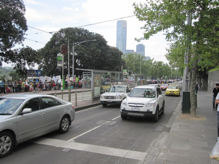 The march for babies moving down Flinders St Melbourne on October 8 2011