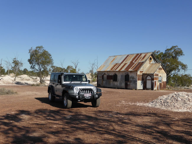 Church building built for the movie 'The Goddess of 1967' at Lightning Ridge, New South Wales, Australia
