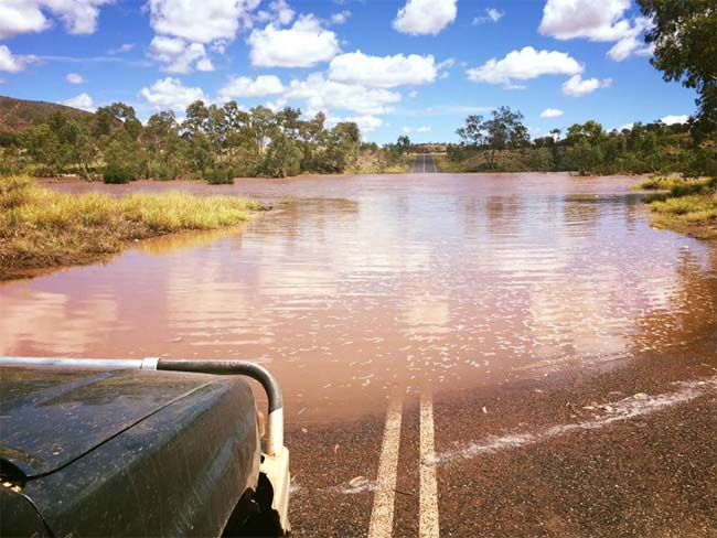 Flooded crossing, Finke River, West MacDonnell National Park, Northern Territory, Australia