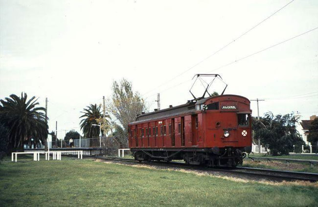 The 'Seaweed Express' electric train, out of Altona, Melbourne, Victoria, Australia